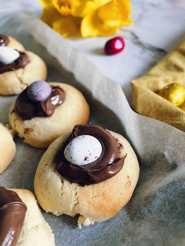 Mini Chocolate Eggs Thumbprint Cookies